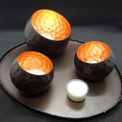 illoomi Leuchtschale eingedellte Kugel Blattkupfer