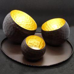 illoomi Leuchtschale eingedellte Kugel Blattgold